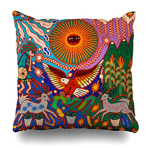 Decorativepillows 18 x 18 inch Throw Pillow Covers,Oaxaca Mexico Mexican Mayan Tribal Art Boho Travel Pattern Double-Sided Decorative Home Decor Indoor/Outdoor Garden Sofa Bedroom Car Kitchen Nice from antspuent