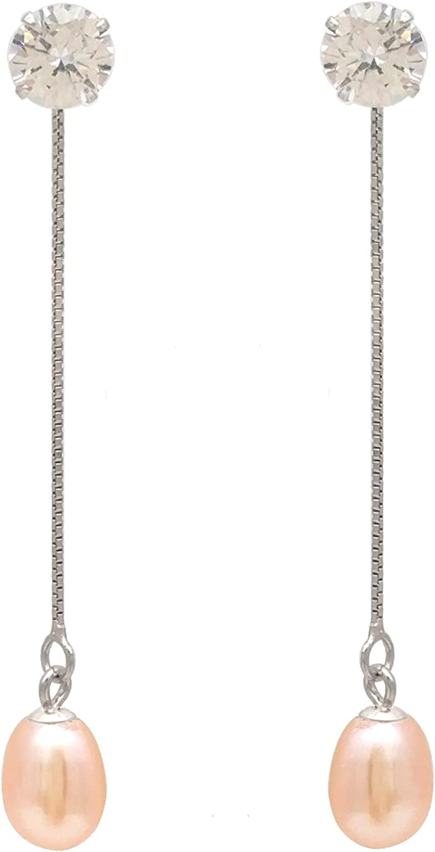regalo del día de la madre,ELAINZ HEART®, diseño exclusivo Pendientes de perlas genuinas para mujer elegante gota, Pendientes de perlas de agua dulce de moda S925 plata de ley