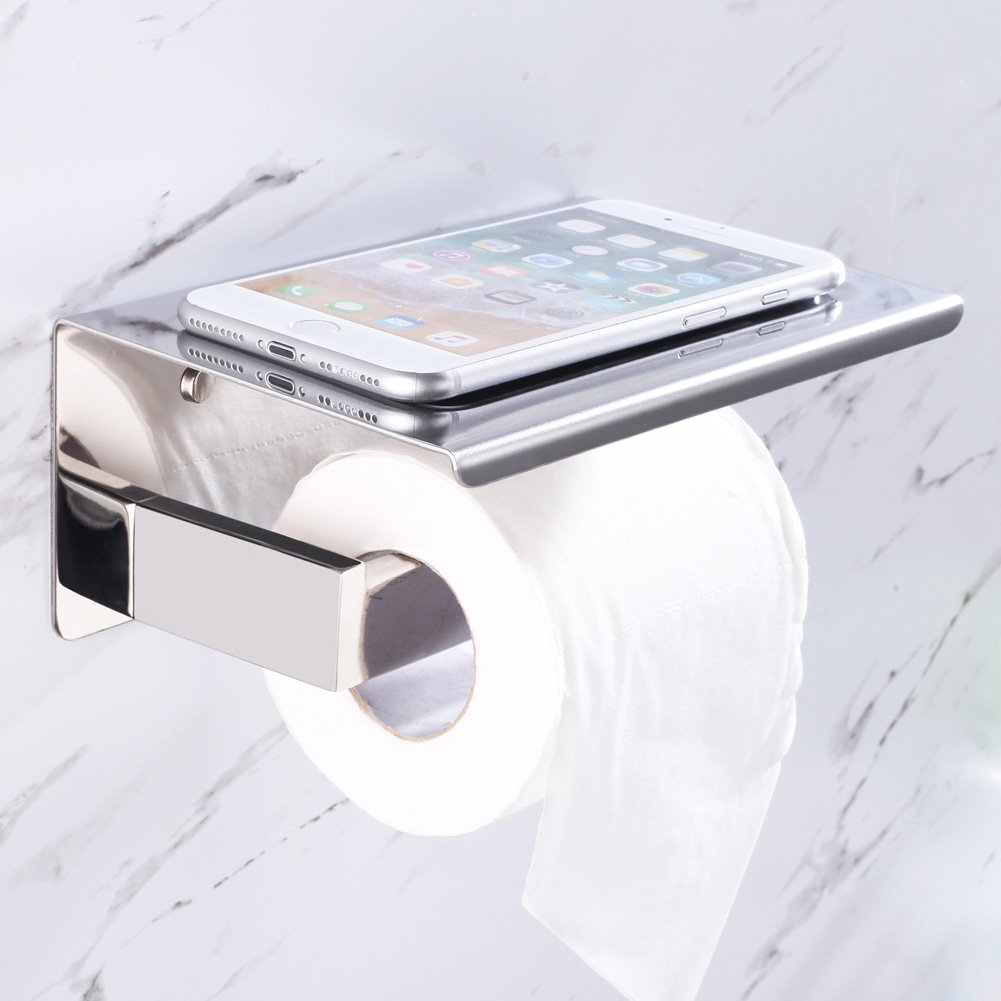 Bathroom Tissue Holder With Phone Shelf Angle Simple Sus304 American Standard Concept Square Stainless Steel Toilet Paper Roll Bath For Wet