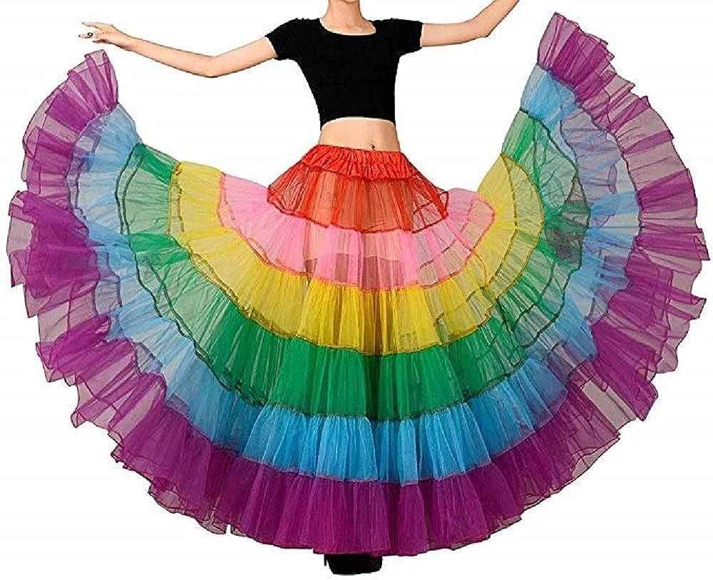 HEIYUN Long Rainbow Petticoat Skirt Swing Dancing Tutu Underskirts Slips Underwear Half Slips