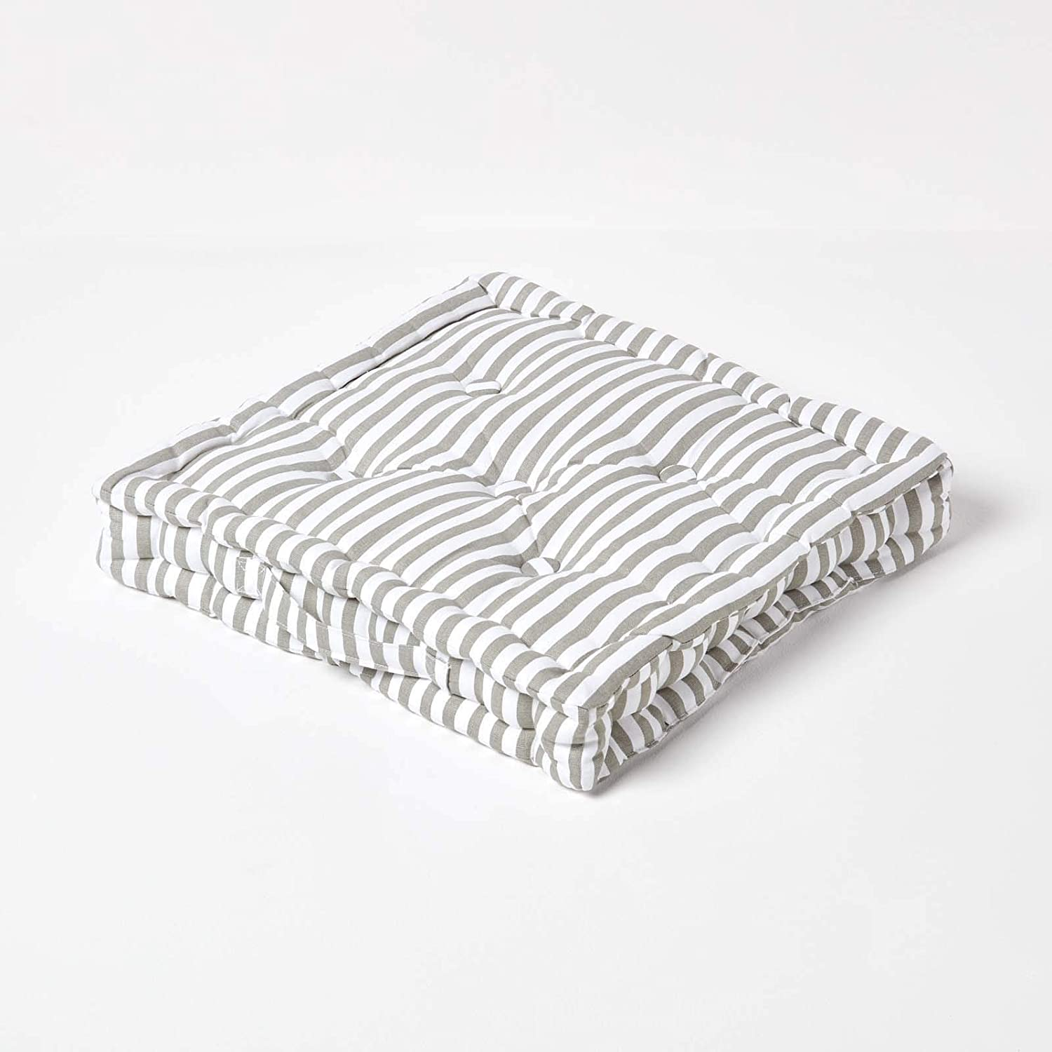 40 x 40 x 8 cm Square 100/% Cotton Indoor Thick Stripe Beige Garden Dining Chair Booster HOMESCAPES Floor Cushion Seat Pad Cushion Mink Natural