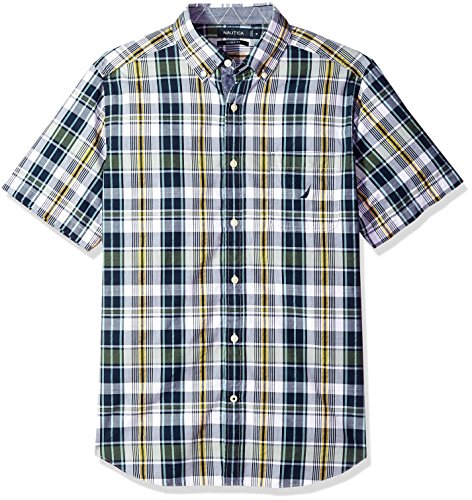 Nautica Mens Short Sleeve Plaid Button Down Shirt