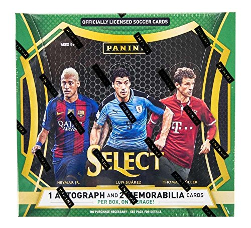 2016 Panini Select Soccer Hobby Box (12 Packs/5 Cards:1 Auto, 2 Mem, 12 Prizms) - Panini Certified - Autographed Soccer Cards from Sports Memorabilia