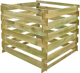 mewmewcat Komposter Kompostsilo aus Holz mit Stecksystem 90 x 90 x 85 cm