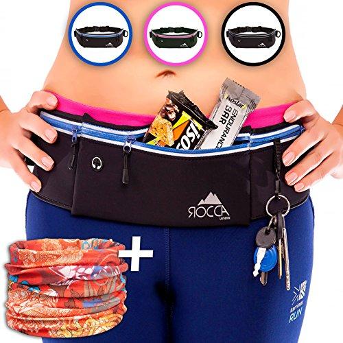 - Running Belt - iPhone X 6 7 8 Plus & Samsung Phone Pouch for Runners | Best Women Men Kids Reflective Waist Pocket Belt Gear for Fitness Gym Hiking Workout + Bandana Sports Scarf by ROCCA (Blue)