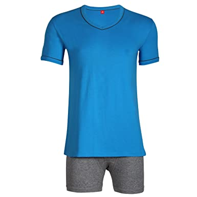 45c9fe0cca99 Godsen Men's Cotton Sleepwear Short Sleeve Summer Pajama Set Tracksuit Set  at Amazon Men's Clothing store: