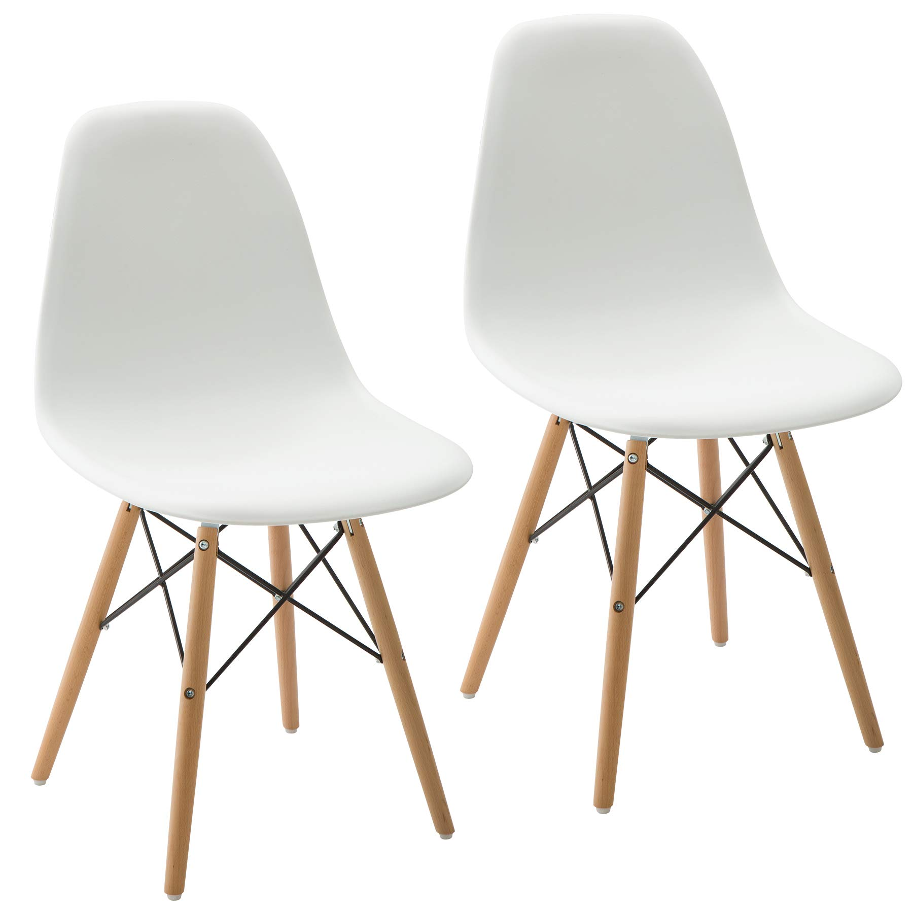 Phoenix Home Kenitra Contemporary Side Chair with Maple-Wood Legs, Snow White, Set of 2 by Phoenix Home