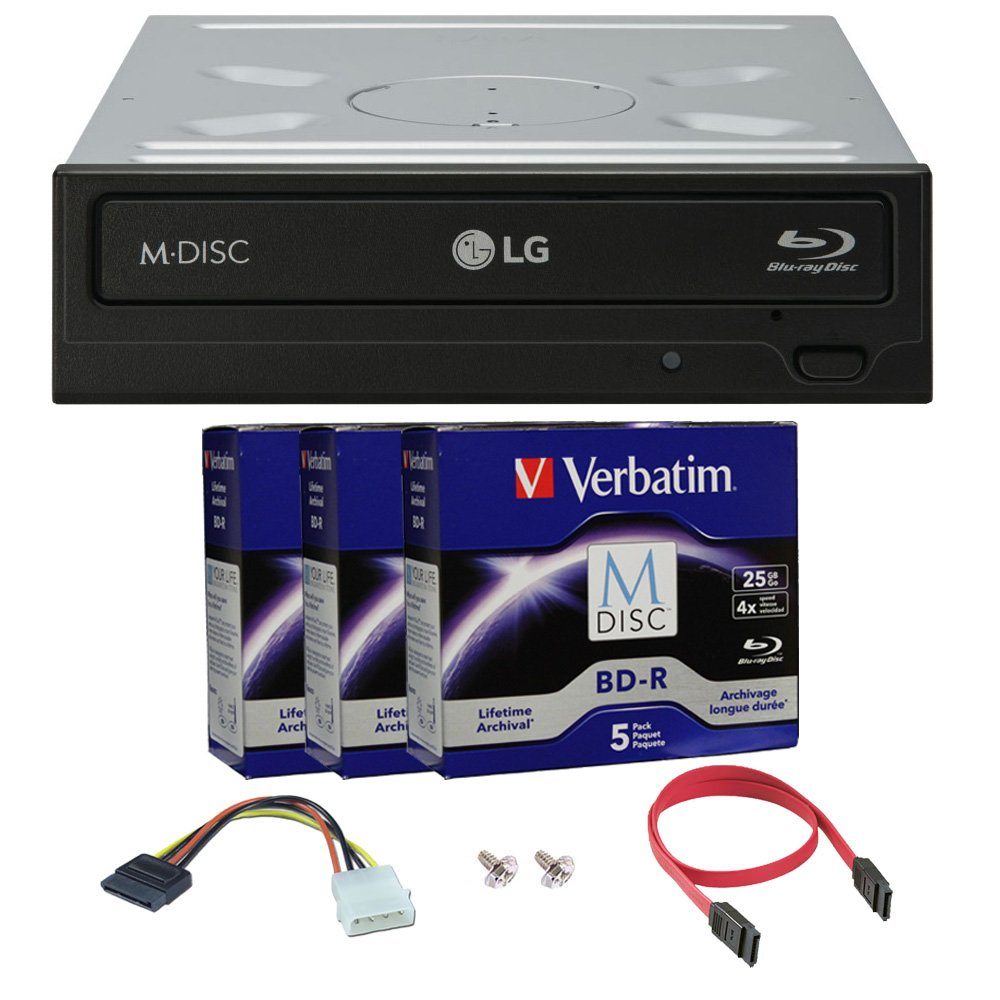 LG 14x WH14NS40 Internal Blu-ray Writer Bundle with 15 Pack M-DISC BD and Cable Accessories