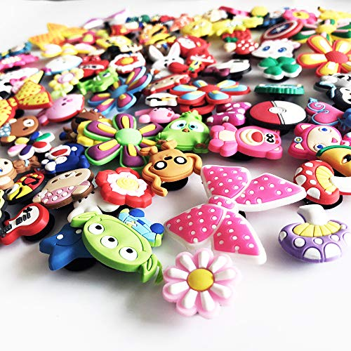 9e1ff8072 HLXY Shoe Charms 100 Pcs Different Shape for Jibbitz Croc Shoes and Backpack    Bracelet Wristband
