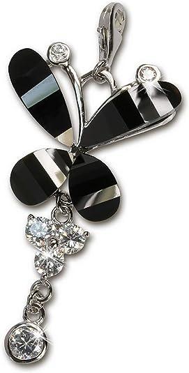 SilberDream Charm 925 Silber Anhänger schwarz Schmetterling