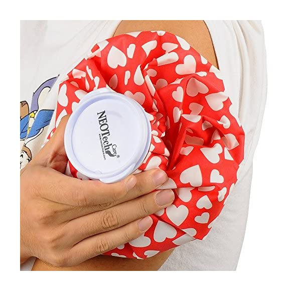 Neotech Care Ice Bag for Injuries, Swelling, Headache, Pain Relief, First Aid - Cold Pack Screw Top Lid - Reusable, Refillable, Flexible & Waterproof Pouch/Bladder Style (9 inch, Heart Design)