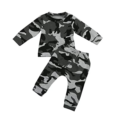 ab8d3e477 BURFLY Baby Outfits Infant Baby Boys Camouflage Long Sleeve Blouse ...