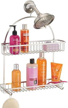 Estanter/ías para colgar de metal con dos cestas y dos ganchos para todo tipo de accesorios color bronce Estante para ducha sin taladros mDesign Cesta de ducha para la mampara