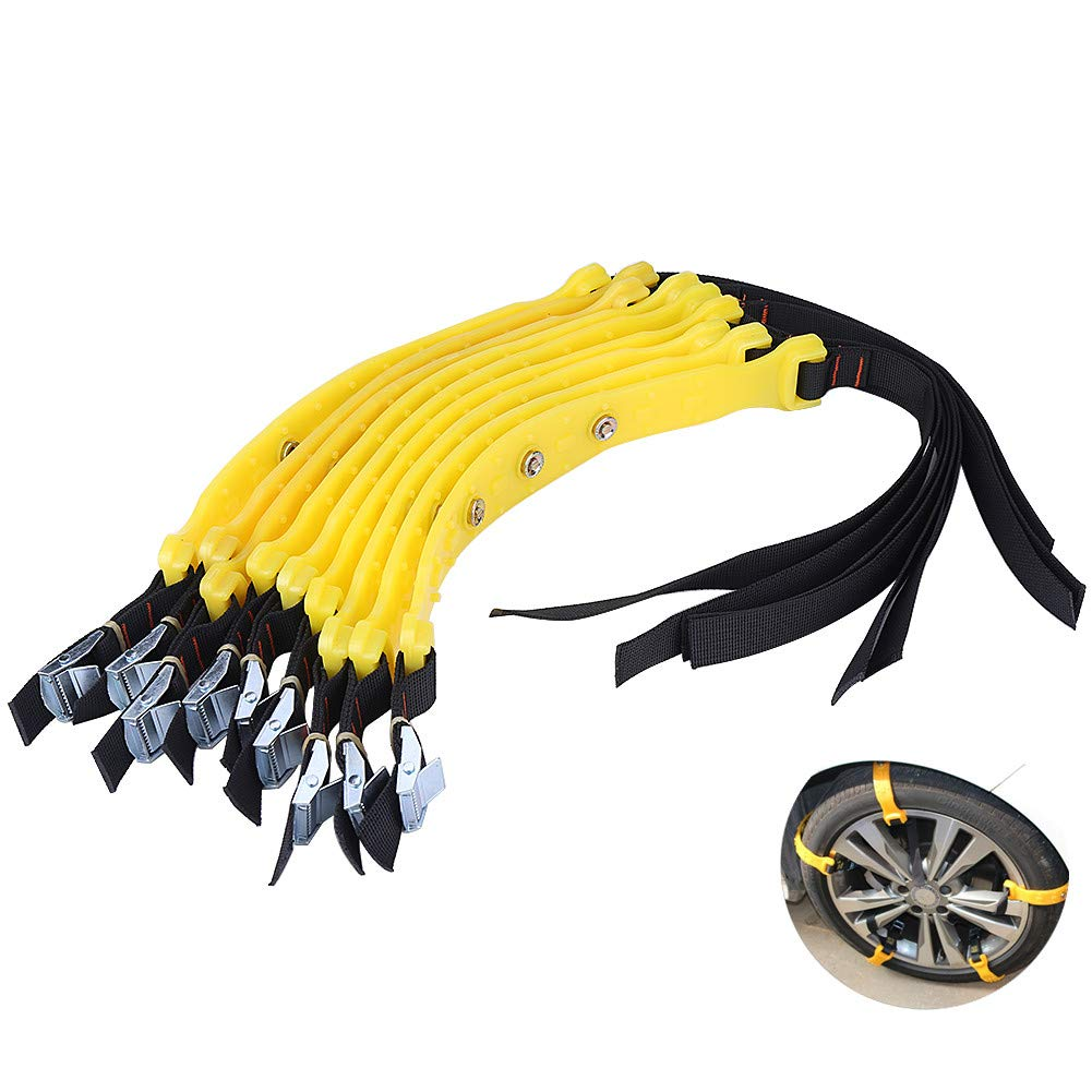 Snow Chains - Universal Tire Belt Anti-skid Tire Chains 185-225mm Car Tire Security Accessories for Car Truck SUV, 10Pcs