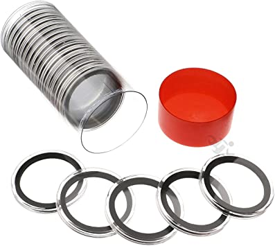 Red Lid Capsule Tube & 20 Air-Tite 39mm Black Ring Coin Capsules for 1oz Silver & Copper Rounds and Casino Chips by OnFireGuy