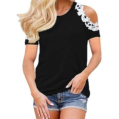 c3dee44189 feiXIANG ® Maglietta da Donna T-Shirt da Donna Elegante Maglia Manica Corte  Taglie Forti Pizzo estive Donne Shirt Top Donna Divertenti Camicetta ...