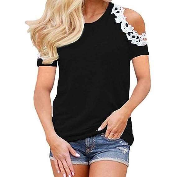 feiXIANG ® Maglietta da Donna T Shirt da Donna Elegante Maglia Manica Corte Taglie Forti Pizzo estive Donne Shirt Top Donna Divertenti Camicetta