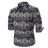 OWMEOT Mens Premium Casual Inner Contrast Dress Shirt (Multicolor B, 2XL)