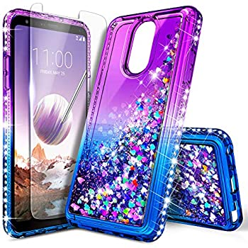 LG Stylo 3 Case (LS777), LG Stylo 3 Plus/Stylus 3 Glitter Case w/[Tempered Glass Screen Protector], NageBee Sparkle Bling Liquid Floating Quicksand ...