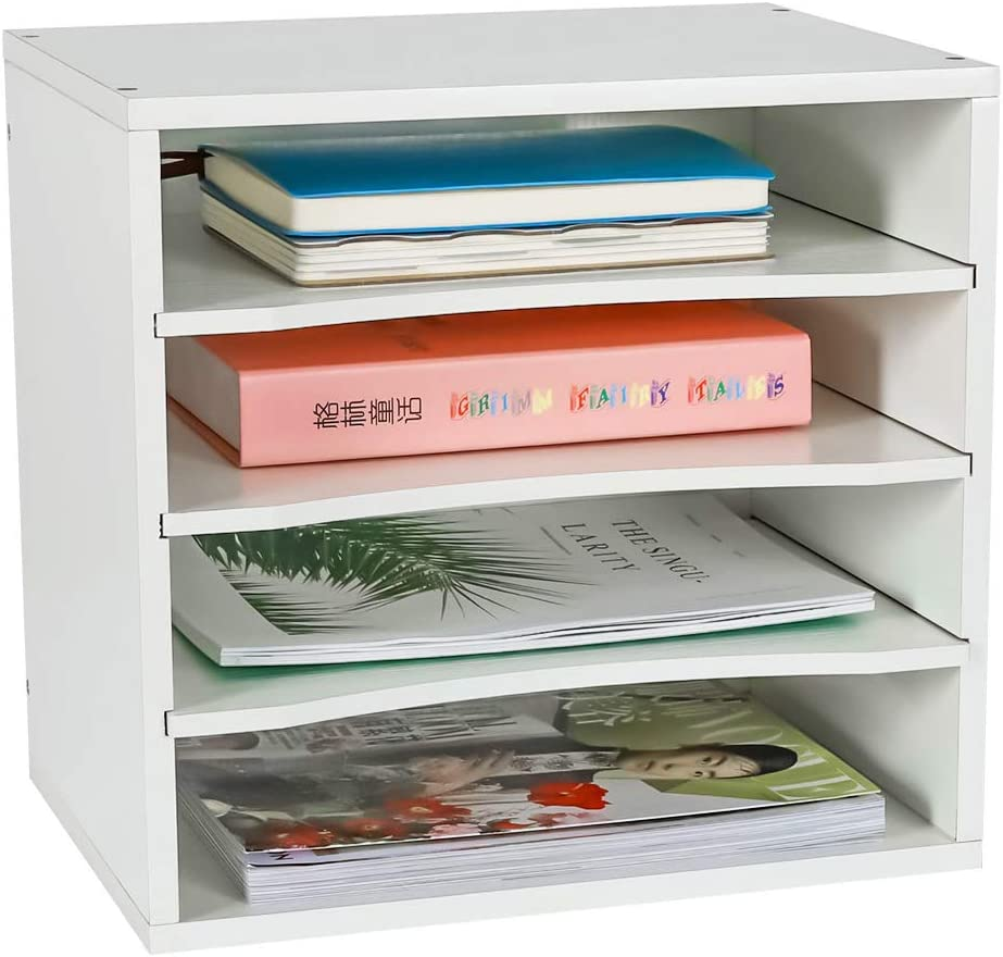 PAG Wood Office Desk File Organizer Countertop Mail Sorter Magazine Paper Holder Rack with 3 Adjustable Drawer Boards, White