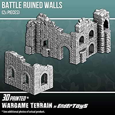Battle Ruined Walls, Terrain Scenery for Tabletop 28mm Miniatures Wargame, 3D Printed and Paintable, EnderToys by Seus Corp Ltd