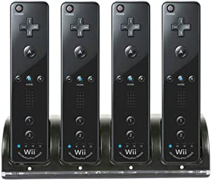 Wii Remote Controller Charger, 4 in 1 Wii Charging Dock Station with 4PCS 2800mAh Rechargeable Batteries for Wii/Wii U Controller-Black