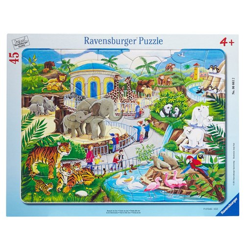 Ravensburger Visit to The Zoo 45 Piece Frame Jigsaw Puzzle for Kids - Every Piece is Unique, Pieces Fit Together ()