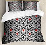 Poker Tournament Decorations Queen Size Duvet Cover Set by Ambesonne, Card Symbols Ornament Victorian Floral Swirls Pattern, Decorative 3 Piece Bedding Set with 2 Pillow Shams, Silver Black Red