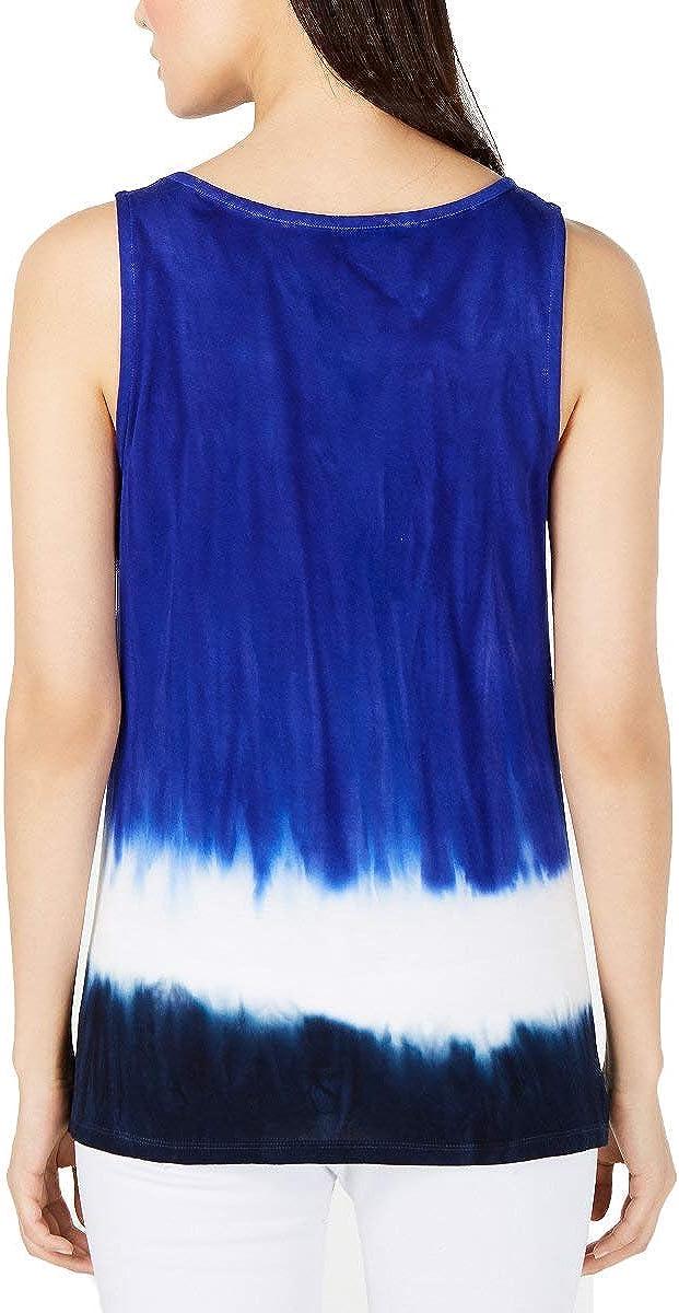INC International Concepts Womens Petite Tie Dye Keyhole Top Bright Blue, Petite Large