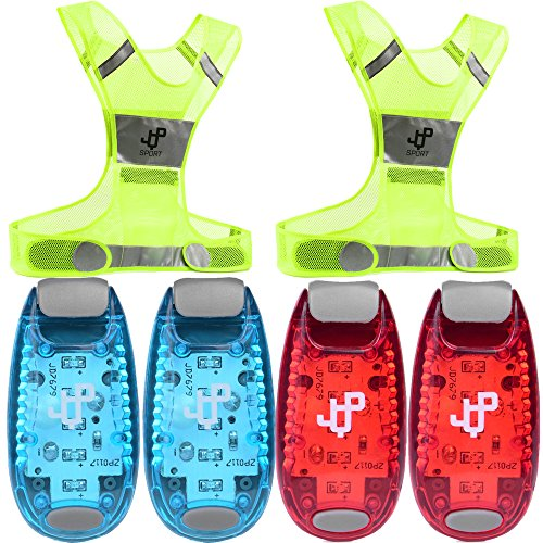 LABOR DAY SALE! LED Safety Light and 2 Reflective Vest Sets (4-Pack with Clip and 3 BONUSES), Running Light, Running Vest suitable for Jogging, Cycling, Biking, Dog Walking, Strobe Light, Waterproof
