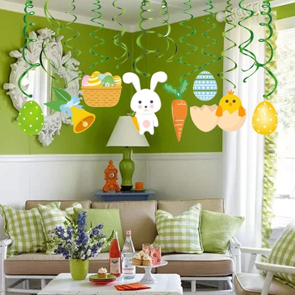 AIYANG D/écorations de P/âques Les Oeufs de p/âques Bunny va agiter Bandes d/écorations pour la f/ête de p/âques Plafond Le d/écor /à Domicile et Centre Commercial