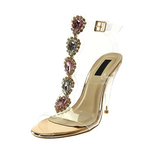 46fdf73d7f77b Angkorly Chaussure Mode Sandale Escarpin Montante Lanière Cheville Femme  Bijoux Transparent Strass Diamant Talon Haut Cönique