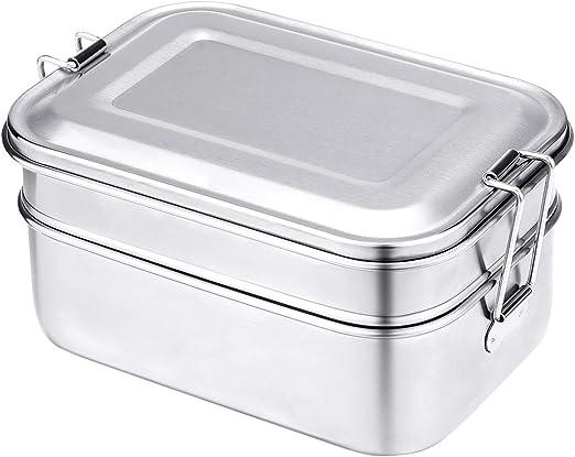 Comfook Fiambrera Acero Inoxidable, Caja de Almuerzo de Acero Inoxidable, Contenedores de Alimentos Bento de Comida Lunchbox mit 2 Compartimentos para Niños y Adultos ...