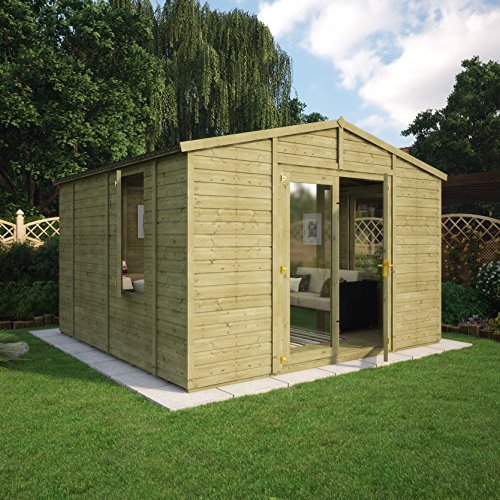 12 ft Proyecto madera tratada a presión Duke madera jardín veranero Apex doble puerta Extra Eaves: Amazon.es: Jardín