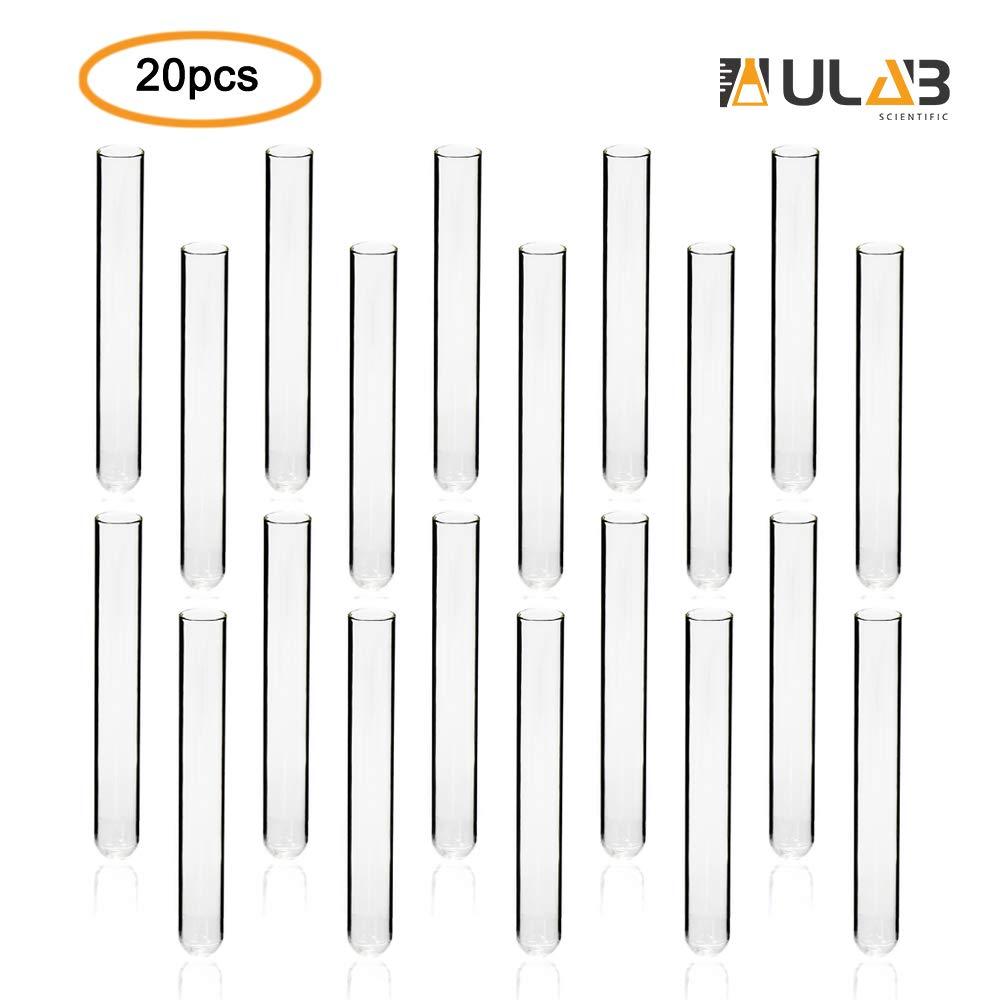 ULAB Scientific Cylindrical Glass Test Tube, vol.20ml, 20x150mm, Medium 3.3 Borosilicate Glass Material, Pack of 20, UTT1006 by ULAB