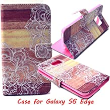 Jenny Shop Galaxy S6 Edge Wallet Case, Anti Scratch [Love Gift] Sparkle Pattern Fashion Style Premium Pu Leather Wallet Case, Stand Feather with Built-in ID & Credit Card Slots Pockets Flip Cover Built-in Magnetic Closure Cover Case for Samsung Galaxy SVI Edge 2015 Release (NOT for Galaxy S6), Carrier Compatibility Verizon, AT&T, Sprint, T-Mobile, International, and Unlocked (White Lace)