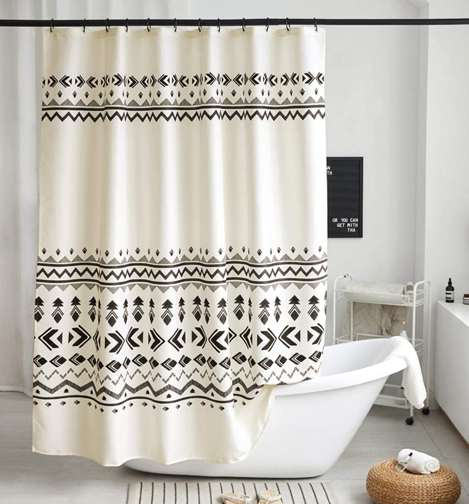 Uphome Boho Shower Curtain Black and Beige Fabric Geometric Tribal Shower Curtain Set with Hooks Modern Ethnic Bohemian Bathroom Curtain Decor,Heavy Duty Waterproof, 72x72