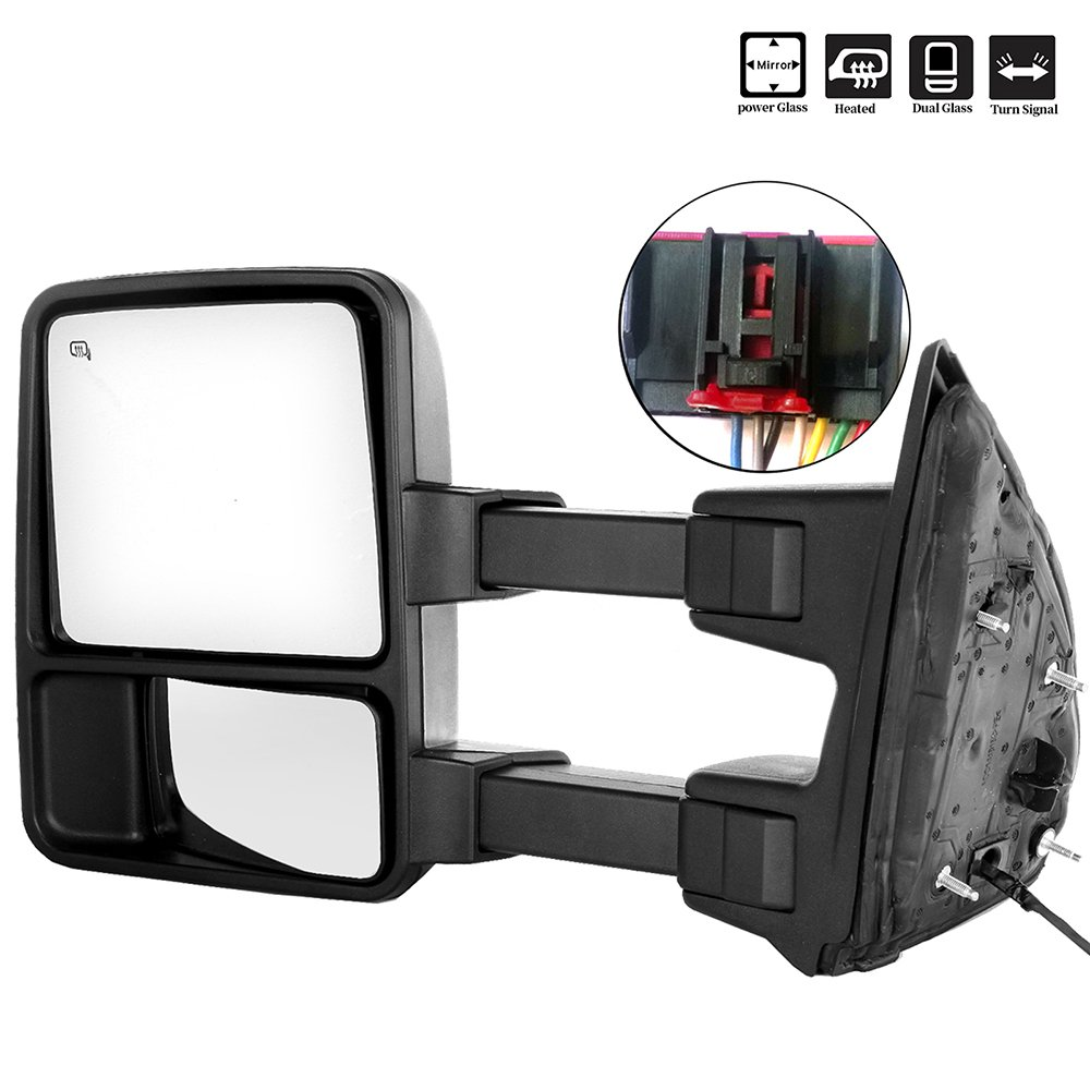 SCITOO Ford Towing Mirrors Driver Side Rear View Mirrors fit 2008-2016 Ford F-250 F-350 F-450 F-550 Super Duty Power Control Heated Manual Telescoping Manual Folding Turn Signal Light Feature