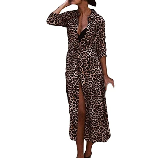 6916cf54f0 Sunsee Womens Leopard Print Maxi Dress Ladies Holiday Long Sleeve 2019  Newfashioned Cocktail Party Dress at Amazon Women s Clothing store