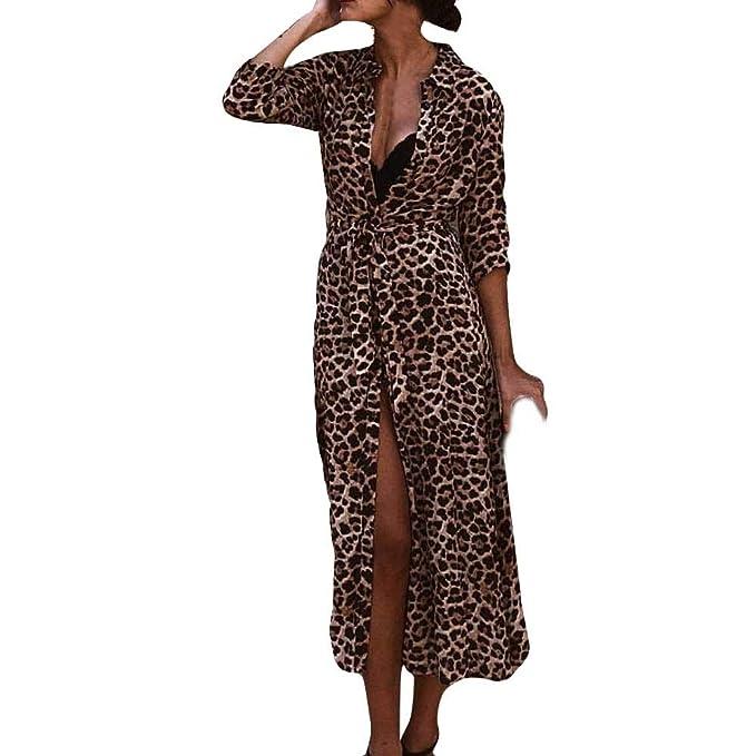 Longra ☂☂☛☛ Vestido Largo de la Manga Larga de Las señoras