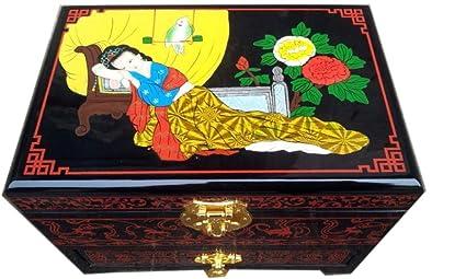 Hongge Caja Joyero,Ware embrión Madera Laca cajón joyería Caja Pintado Laca cerámica artesanía Almacenamiento