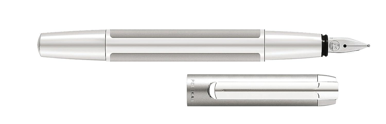 Pelikan 995290 - Penna stilografica Pura P40, fusto nero/argento, pennino in acciaio INOX misura M, nero