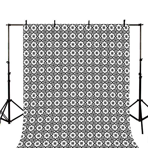 Moroccan Stylish Backdrop,Arabic Monochrome Pattern Oriental Architecture Inspired Design Oval Symmetric Decorative for Photography,118
