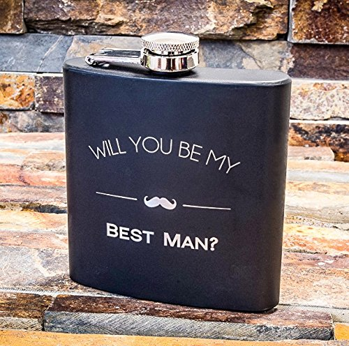 Will You Be My Best Man Engraved Gift Flask – Best Man Proposal Gifts- Flasks For Men, Whiskey Favor – Extra Thick 5mil #304 Stainless Steel, Laser Engraved Design, Leak Proof Best Man 602