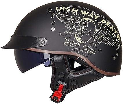 Dkzk Motorradhelm Retro Harley Motorrad Halbhelm Eingebaute Schutzbrille Ece Zertifizierter Cruiser Chopper Scooter Pilot Jet Helm Helm Mit Offenem Gesicht Schnellverschluss Helm Küche Haushalt