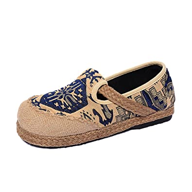 Womens Espadrilles Flats Original Slip on Loafer Shoes Classic Canvas Comfort Alpargatas (Blue-35