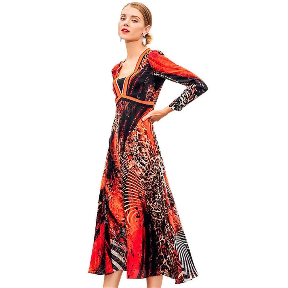 Women's Dress Elegant Vneck SlimFit Leopard Printed ALine Silk Dress Long Sleeve Large Hem Spring Summer Dresses