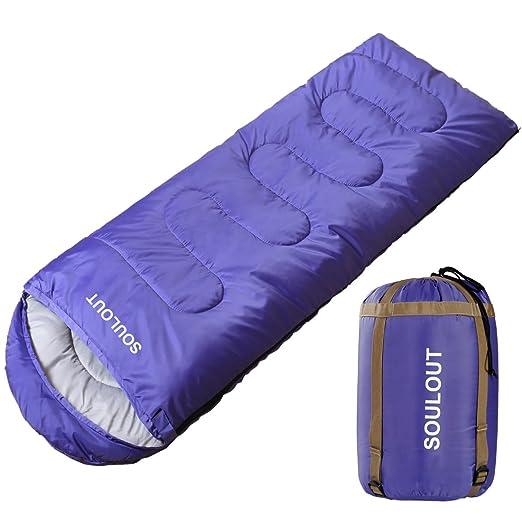 SOULOUT Saco de Dormir 3 o 4 Estaciones, cálido e Invierno, Ligero, Resistente al Agua, Ideal para Adultos y niños, excelente Equipo de Camping, ...