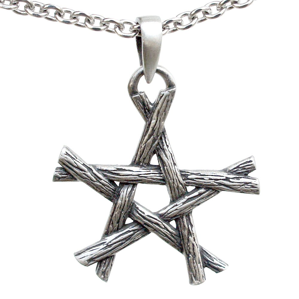 Magic Wicca Pagan Pendant Twigs Pentagram star silver pewter pendant Charm Amulet necklace (Stainless Steel Chain necklace)