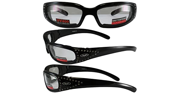 c1ea1be87e Set of 2 Women Motorcycle Padded Sunglasses Glasses Clear and Smoked  Rhinestones With Vented EVA Foam Padding UV400 Filter for Maximum UV  Protection